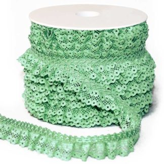 Water green pleated double lace